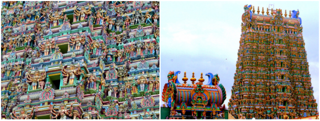 The Meenakshi Temple in Tamil Nadu is a great example of the architectural aesthetic just described.