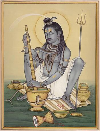 Shiva grinding bhang (marijuana.) Image Source.
