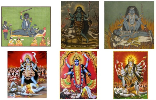 Depictions of Kali. Notice how difficult it is to find a contemporary devotional print depicting Kali and Shiva having sex, and how easy it is to find a historical painting of it, even though both sets of images are supposed to be depicting the same scene in Hindu mythology. The top ones are obviously more Tantric and traditional, and the bottom ones are more influenced by Western moral standards, and would be sold to Neo-Hindus.